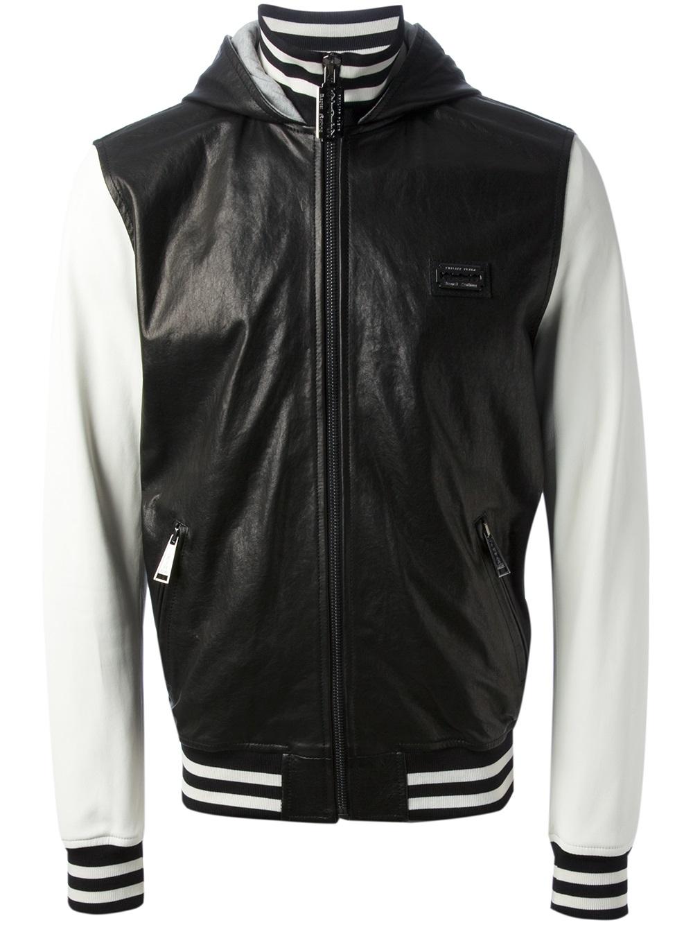 philipp plein varsity jacket in black for men lyst. Black Bedroom Furniture Sets. Home Design Ideas