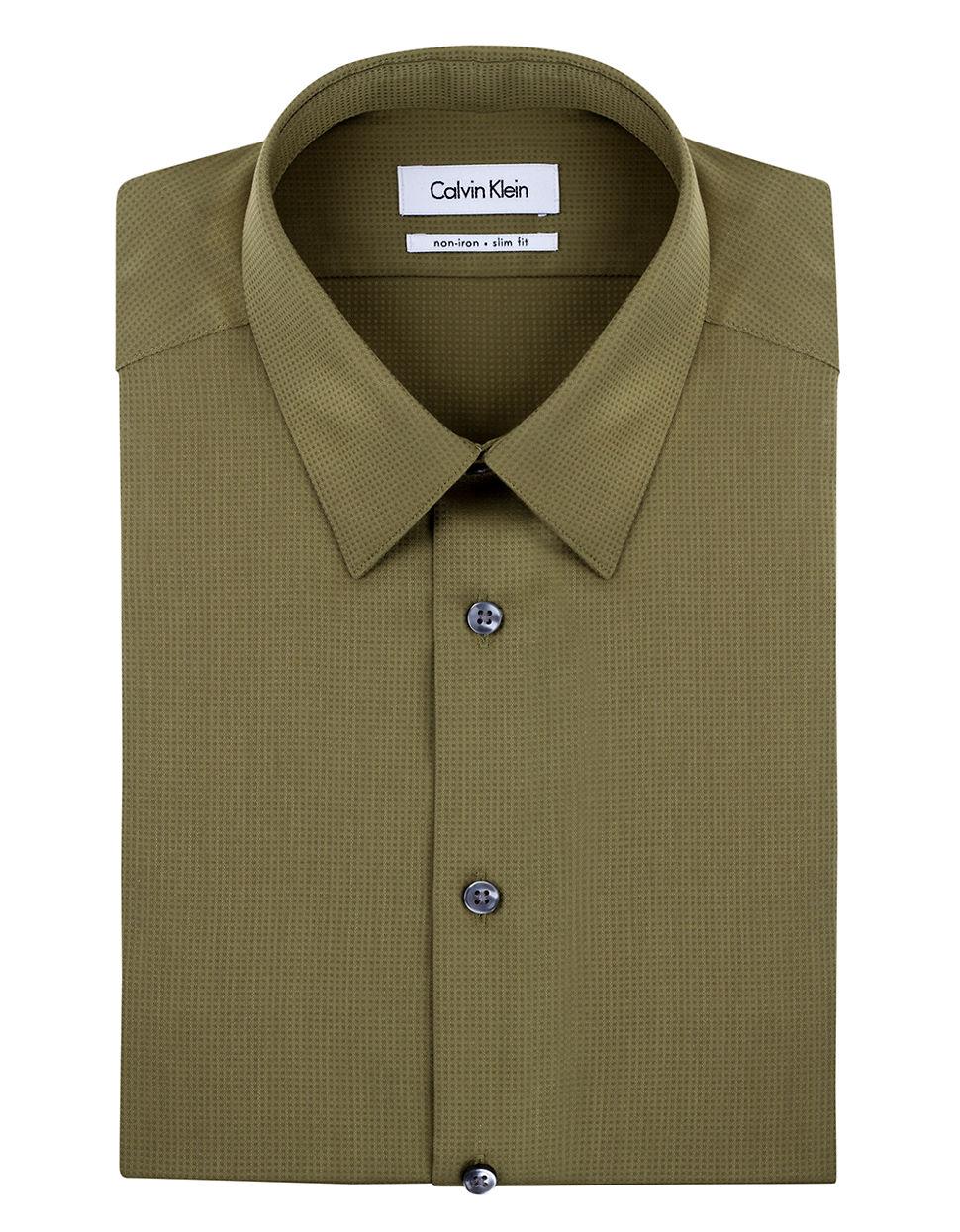 Calvin Klein Textured Stripe Dress Shirt In Green For Men