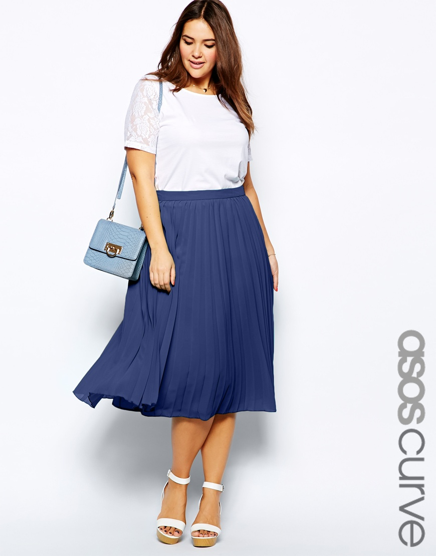 Asos Midi Skirt With Pleats in Blue | Lyst