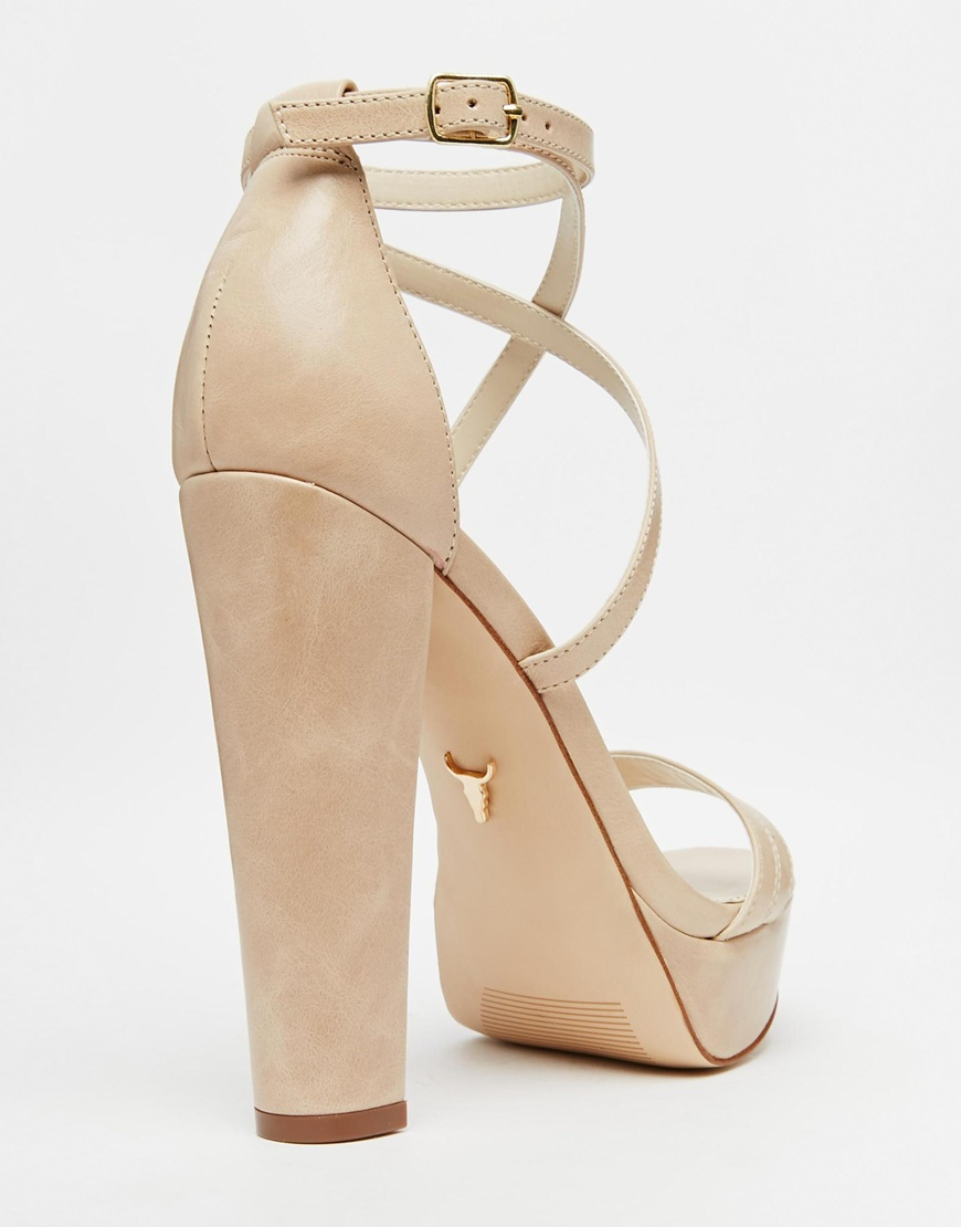Lyst - Windsor smith Mariah Nude Leather Platform Heeled Sandals ...