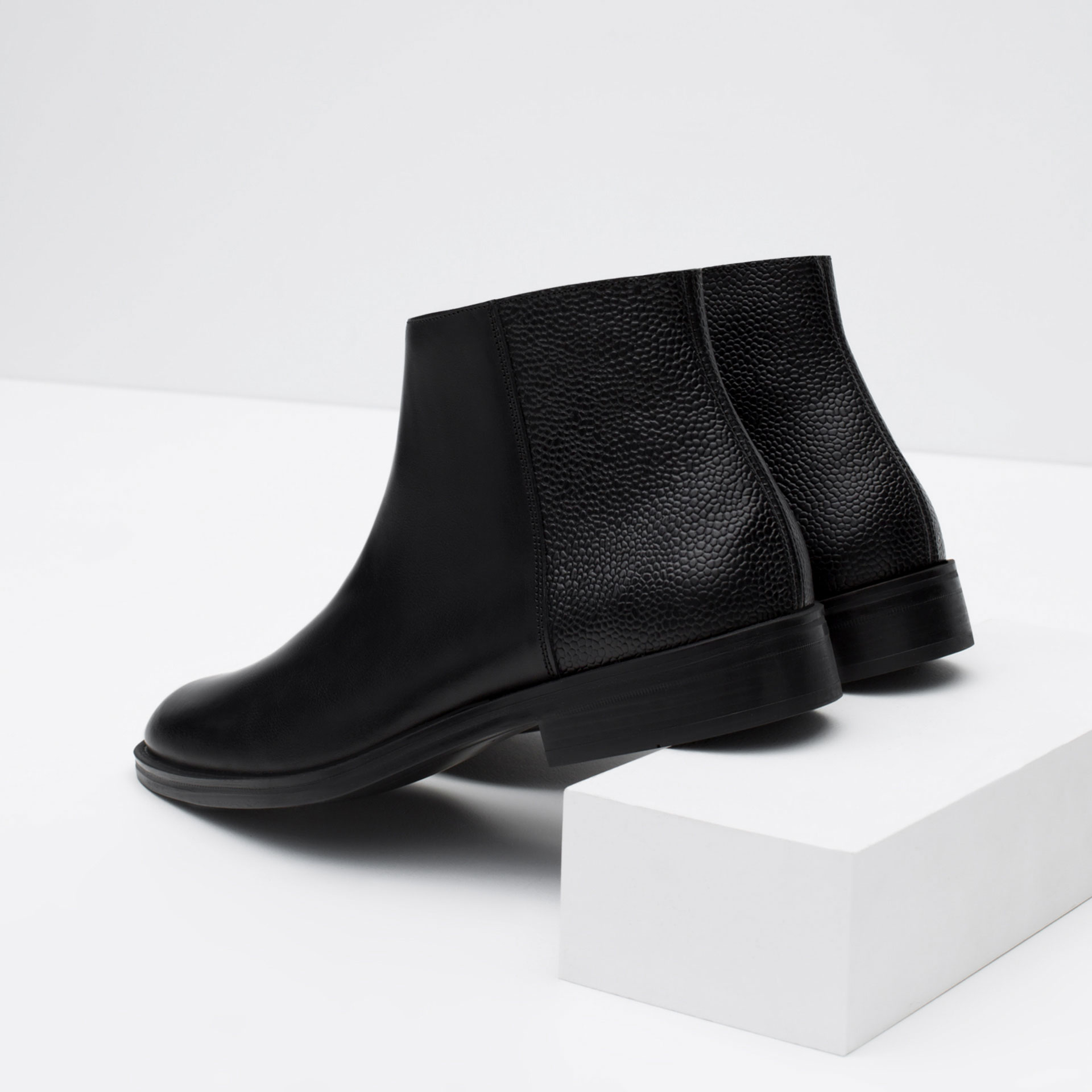 zara leather boots with tumbled detail in black for lyst