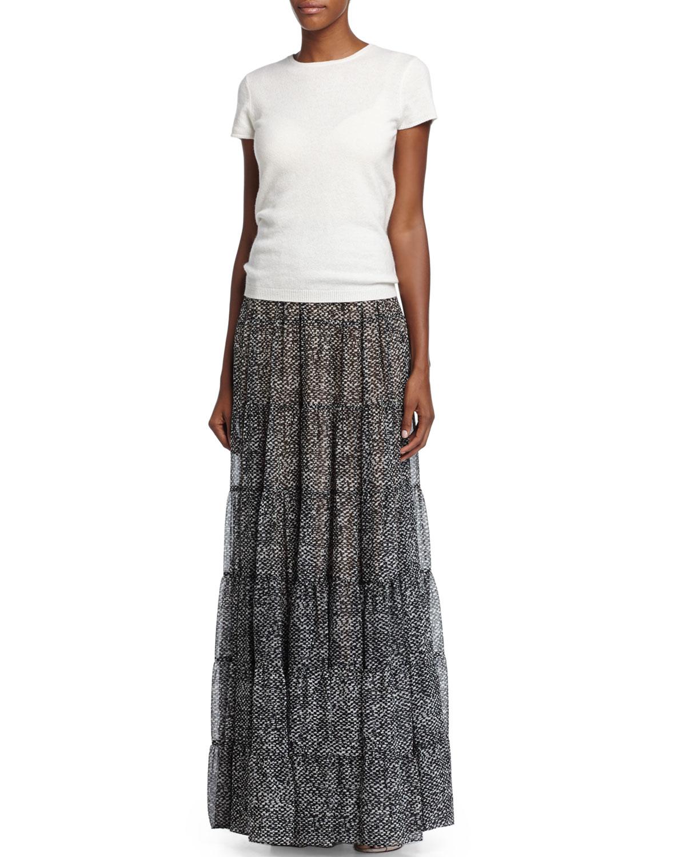 Michael kors High-waist Tiered Maxi Skirt in Gray | Lyst