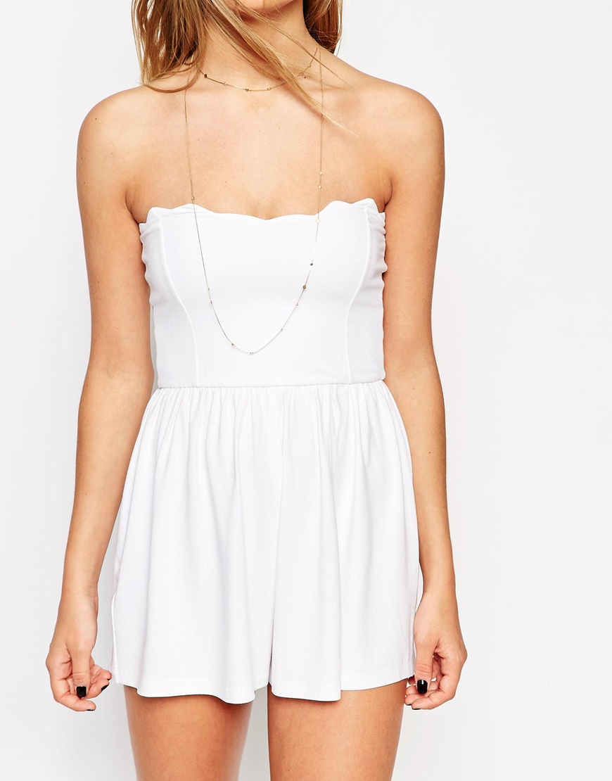 c034516bb06 Lyst - ASOS Bandeau Playsuit With Scallop Edge in White