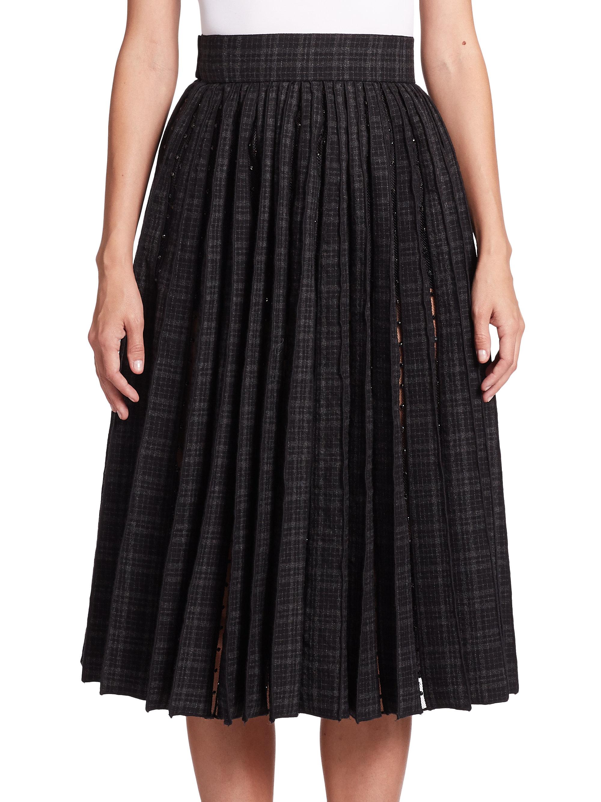 marc gray pleated wool sheer panel midi skirt lyst