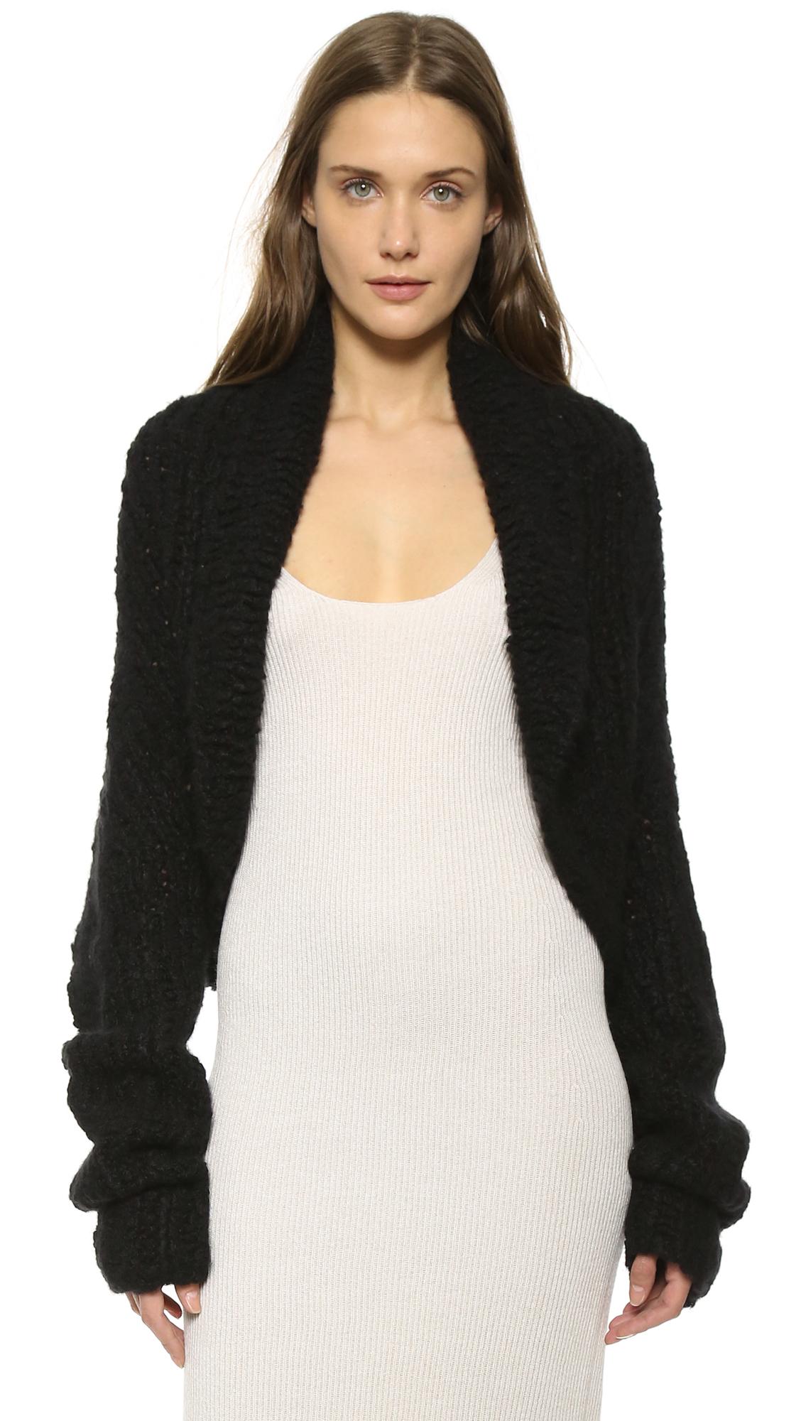 donna karan cashmere shrug cardigan black in black lyst. Black Bedroom Furniture Sets. Home Design Ideas