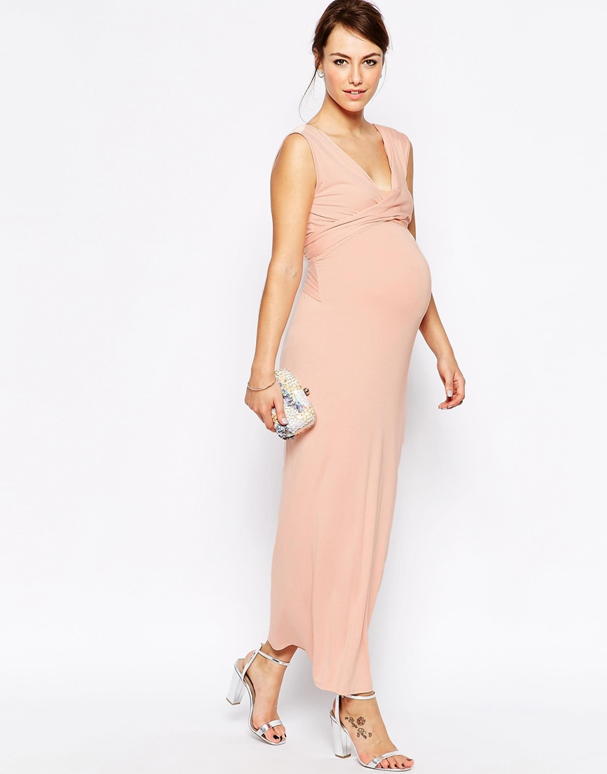 f406011af031 ASOS Maxi Dress With Cross Front in Pink - Lyst