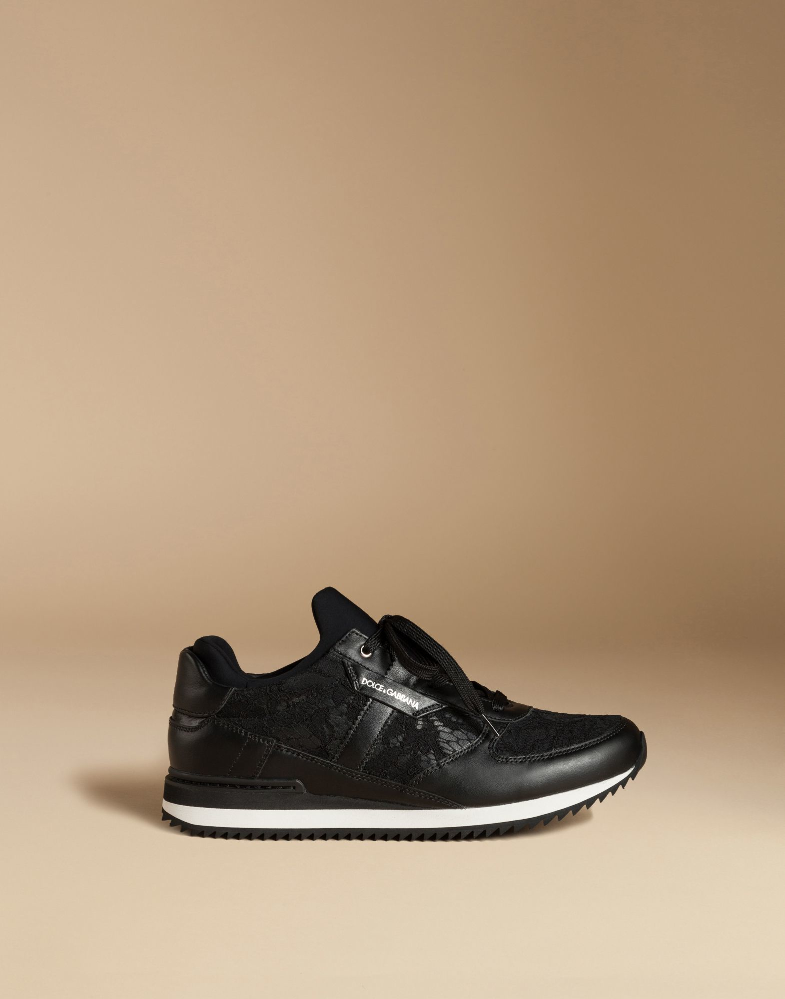 Lyst - Dolce   Gabbana Lace And Calfskin Sneakers in Black b43be9976d