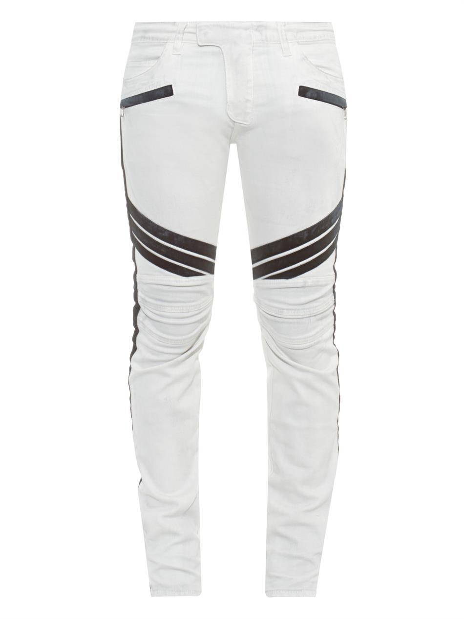Balmain Biker Slim-Fit Jeans in White for Men