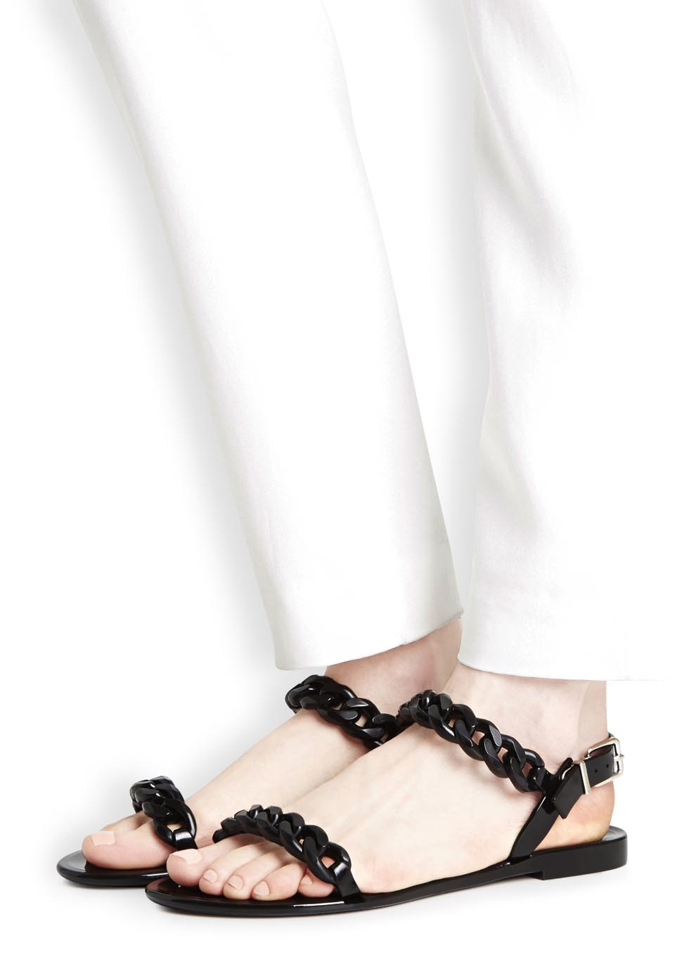 62f3117e0546 Givenchy Black Vinyl Chain Sandals in Black - Lyst