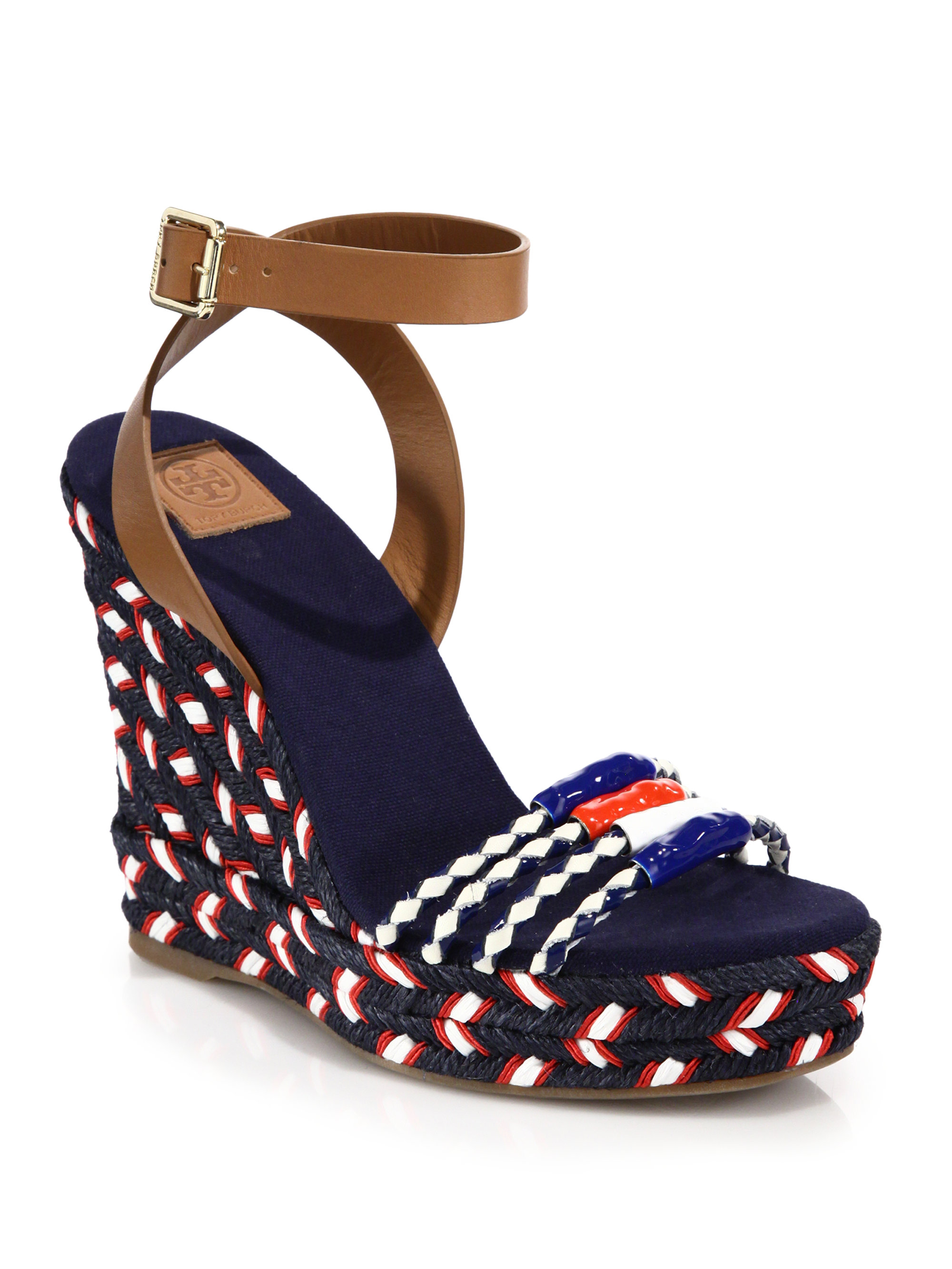 61403244dc1d0 Lyst - Tory Burch Leather   Braided Espadrille Wedge Sandals in Blue