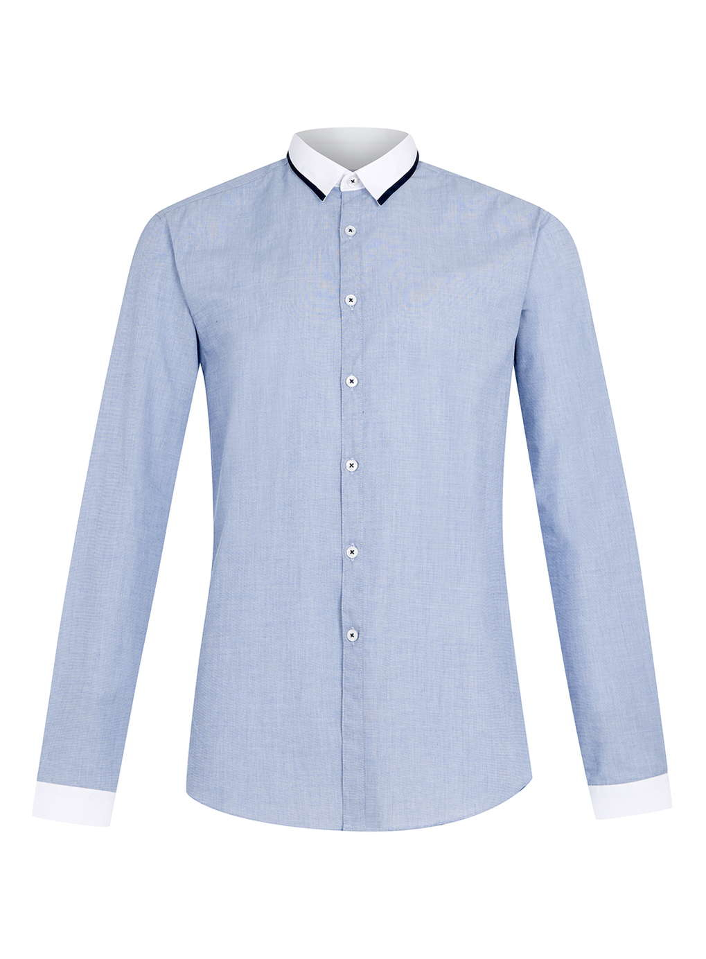 topman contrast collar long sleeve dress shirt in blue for