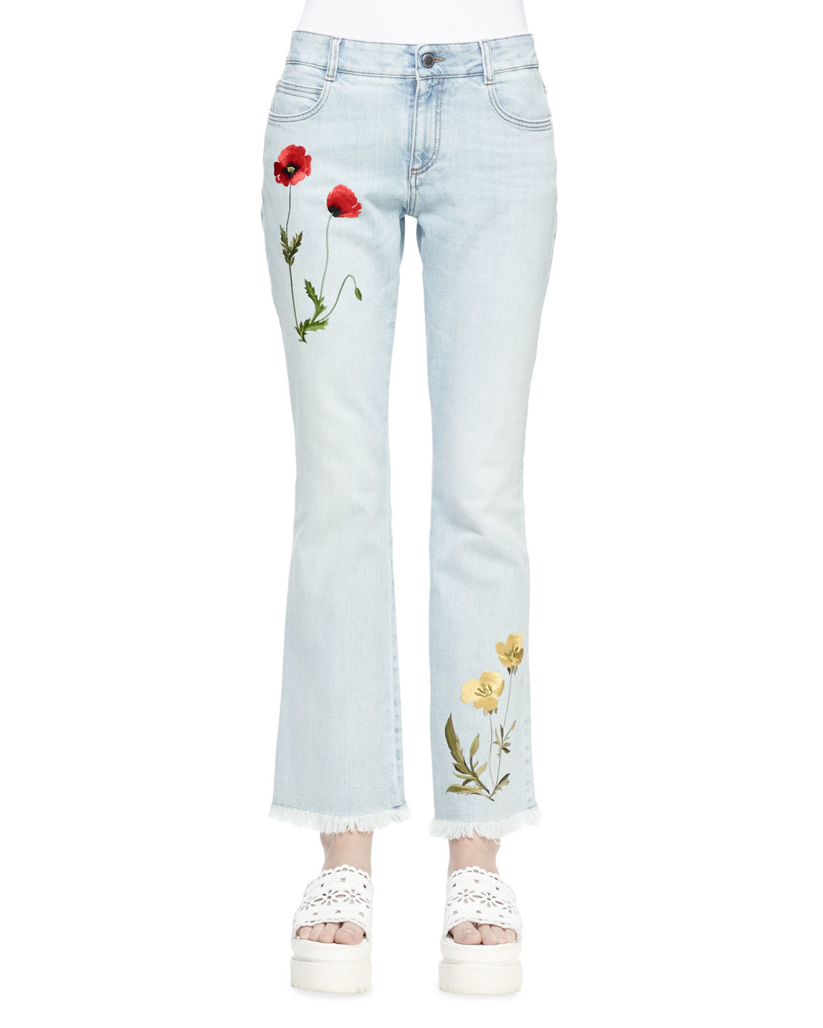 Stella mccartney floral embroidered flare jeans in blue