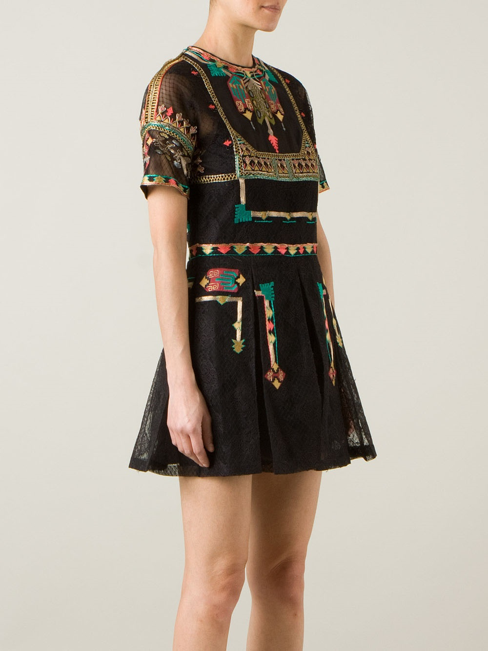 Lyst Valentino Embroidered Lace Dress In Black