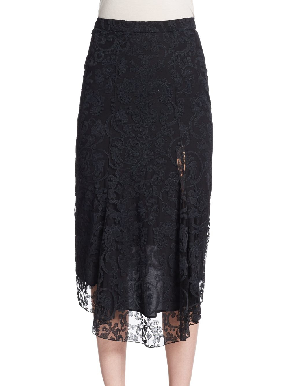 burberry prorsum lace embroidered midi skirt in black lyst