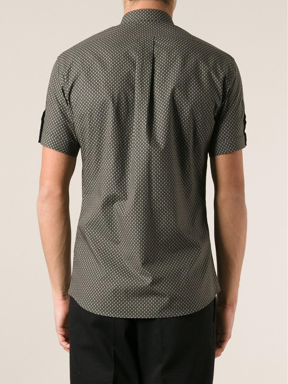 Lyst alexander mcqueen skull print shirt in black for men for Alexander mcqueen shirt men