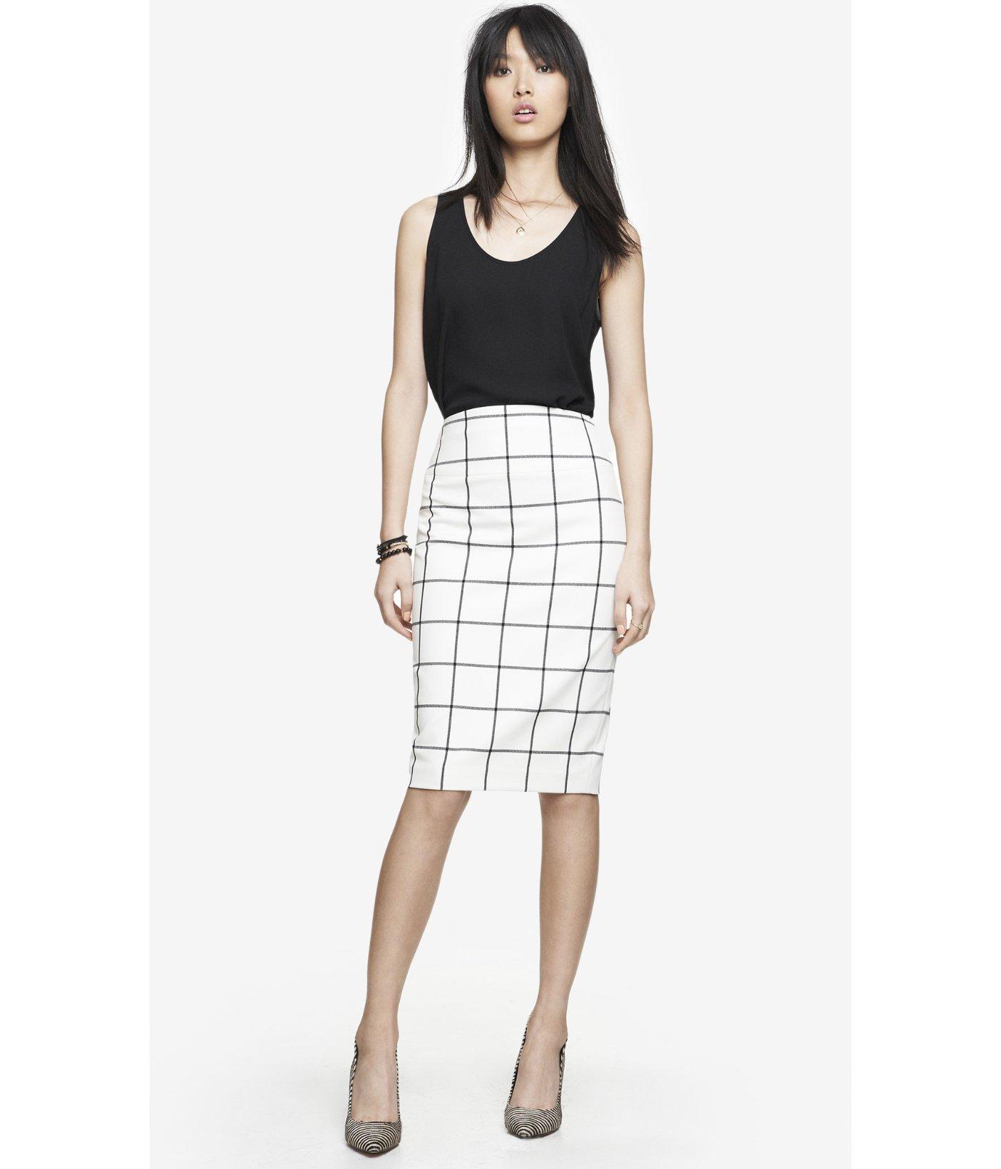 High Waisted Midi Pencil Skirt - Skirts
