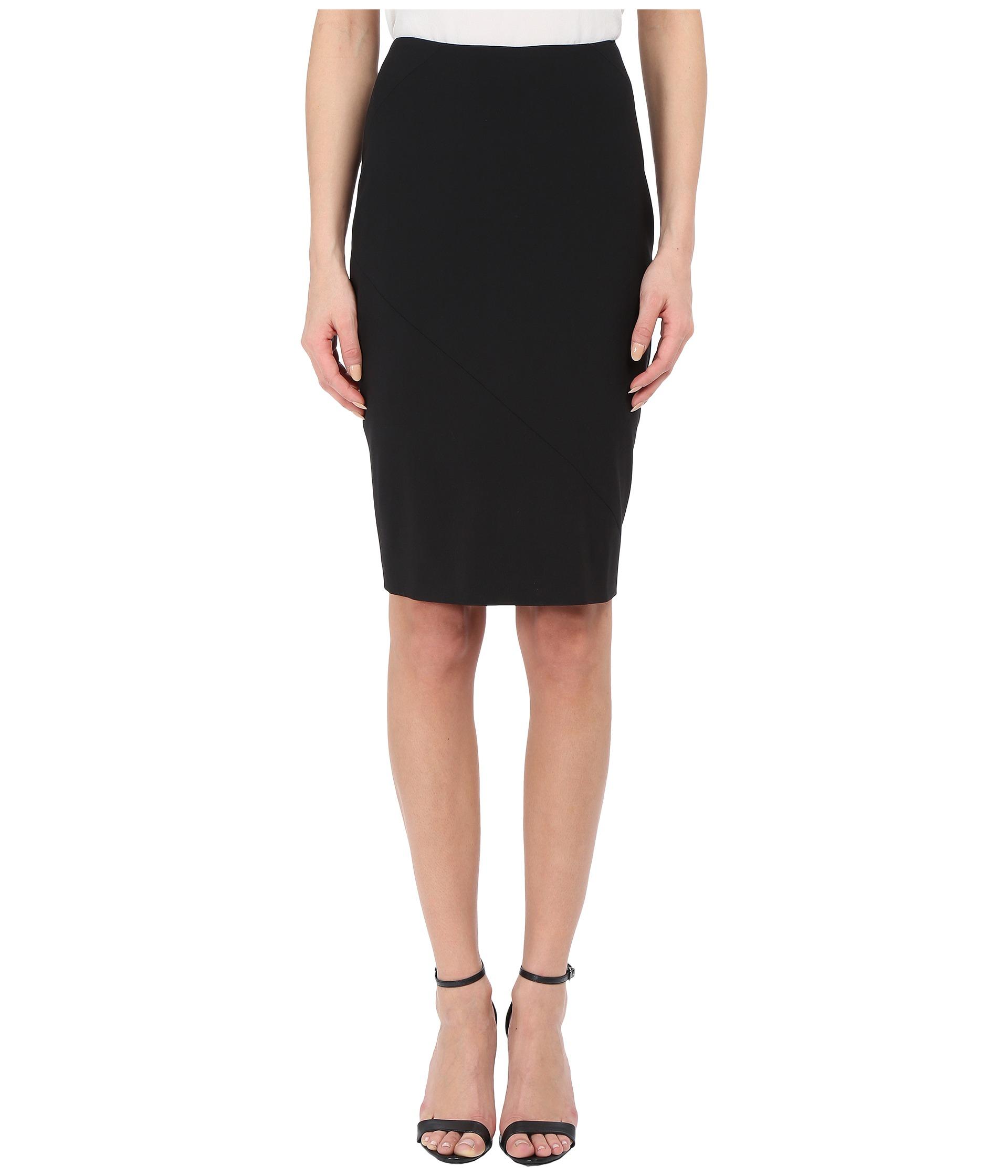 prabal gurung stretch wool knee length skirt in black lyst