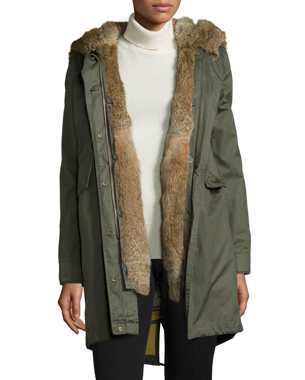 lyst woolrich literary walk fur lined hooded parka in green. Black Bedroom Furniture Sets. Home Design Ideas