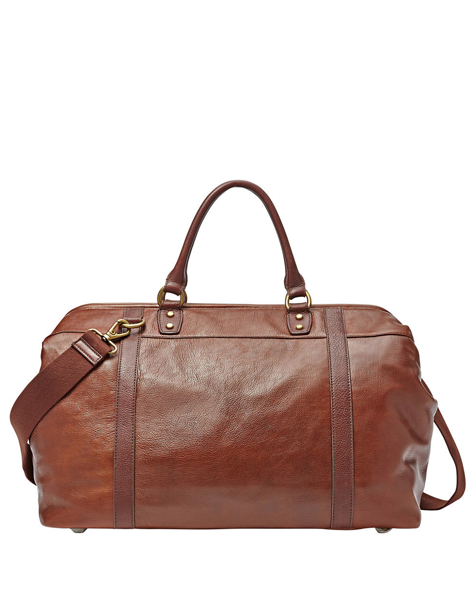 Fossil Leather Framed Duffel Bag In Brown For Men Lyst