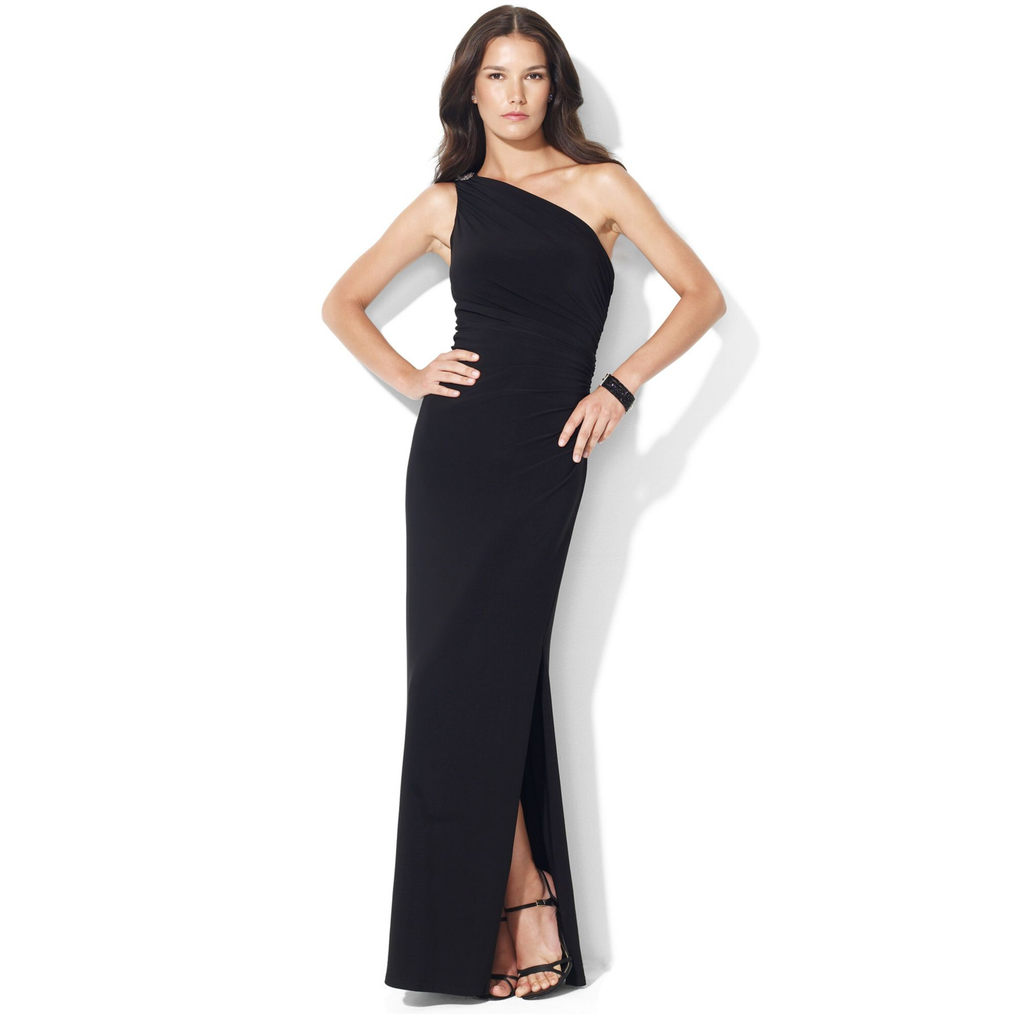 Lauren By Ralph Lauren One Shoulder Evening Gown In Black
