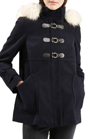Topshop 'hattie' Faux Fur Trim Duffle Coat in Blue | Lyst