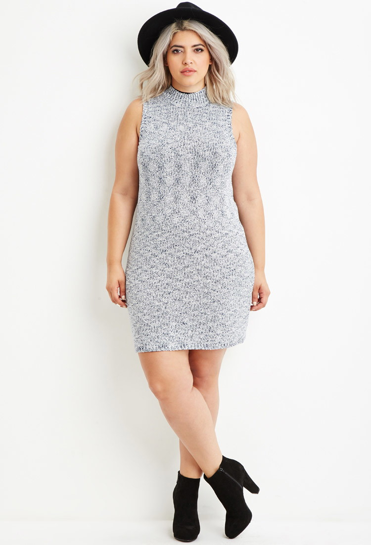 Lyst Forever 21 Plus Size Marled Knit Sweater Dress In Blue