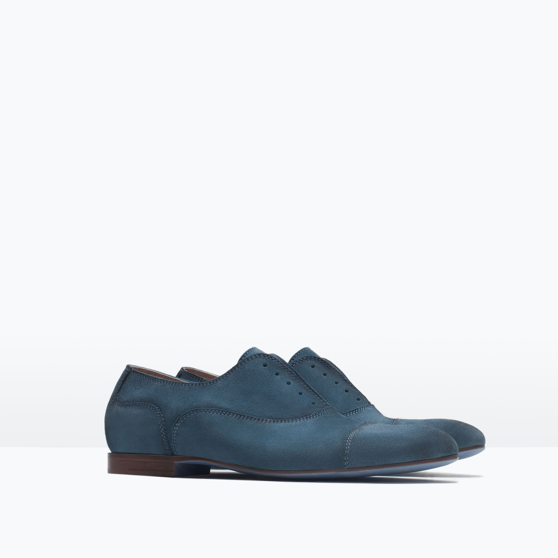 Zara Leather Oxford Shoes With Stretch Detail In Blue For Men (Petrol Blue) | Lyst