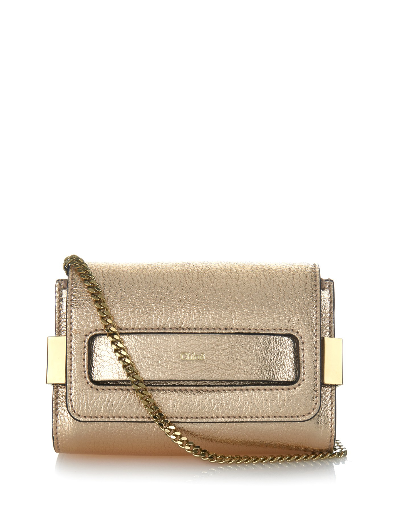 Chlo�� Elle Mini Leather Clutch in Gold | Lyst
