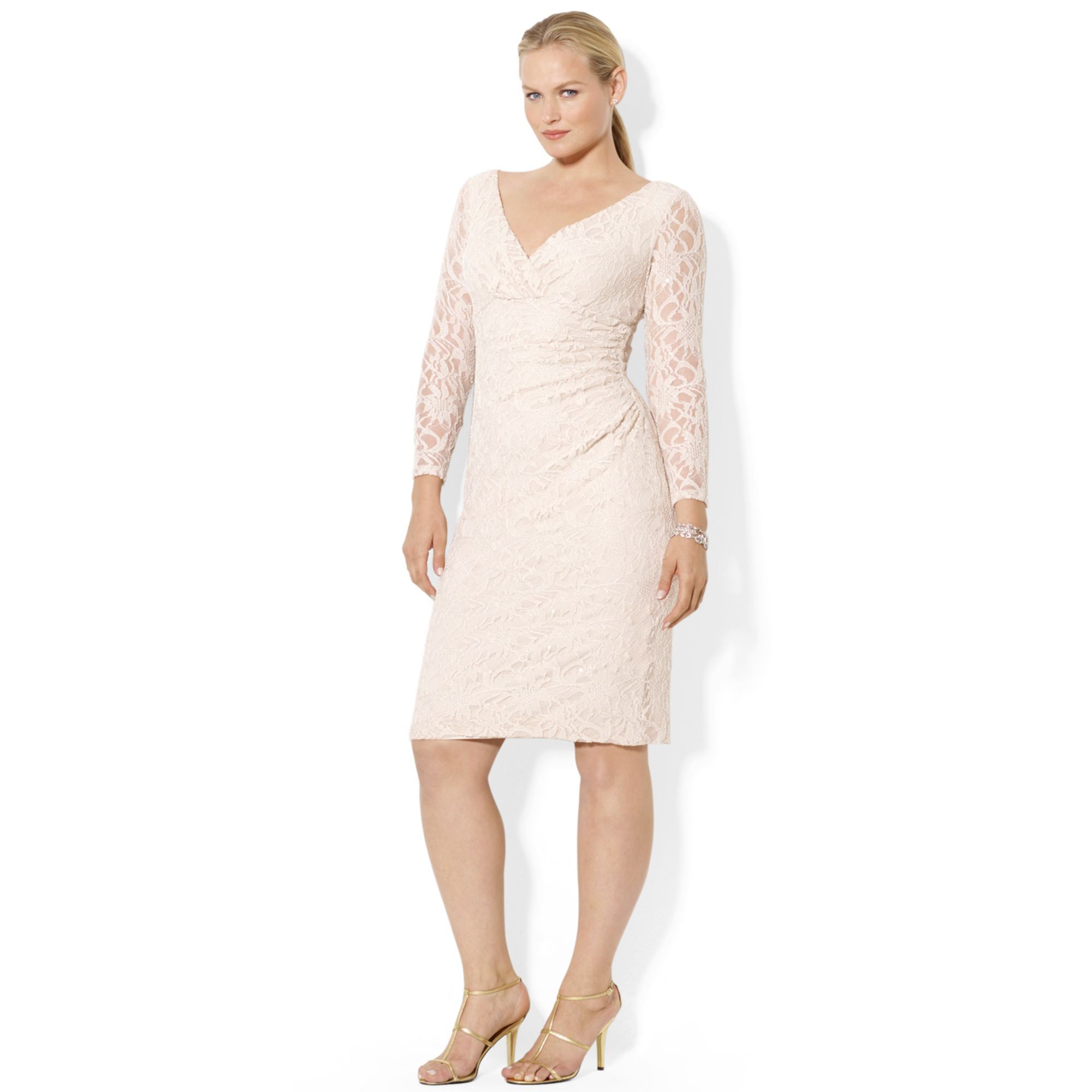 Lauren by ralph lauren Plus Size Longsleeve Lace Sheath Dress in ...