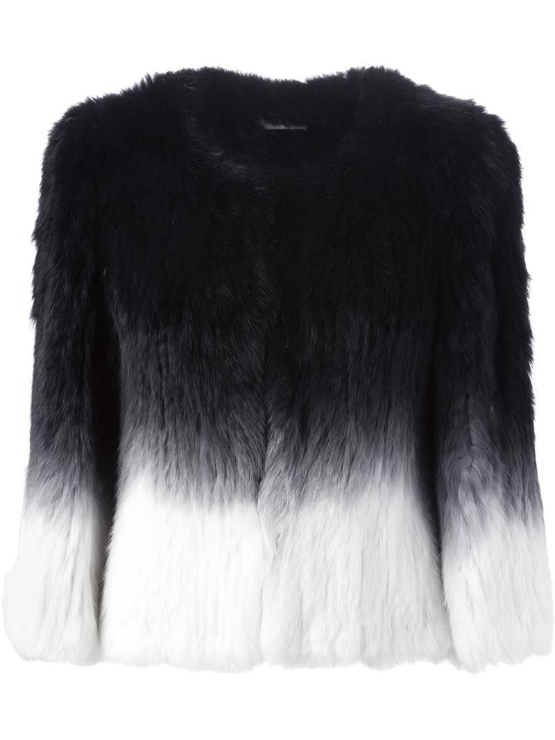 Yves salomon Ombre Fur Coat in Black | Lyst