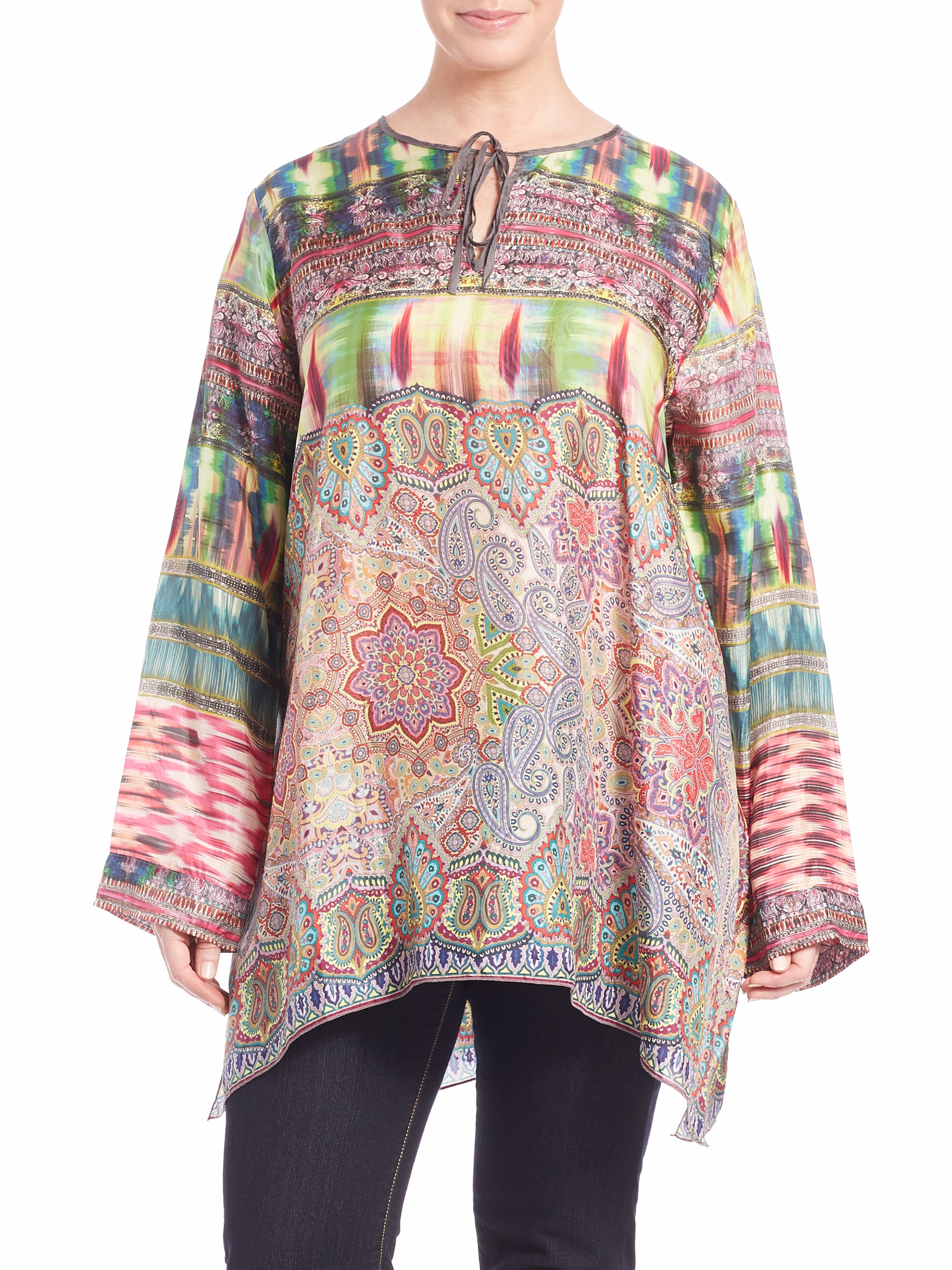 Johnny Was Rose Silk Tie Front Tunic In Green Lyst