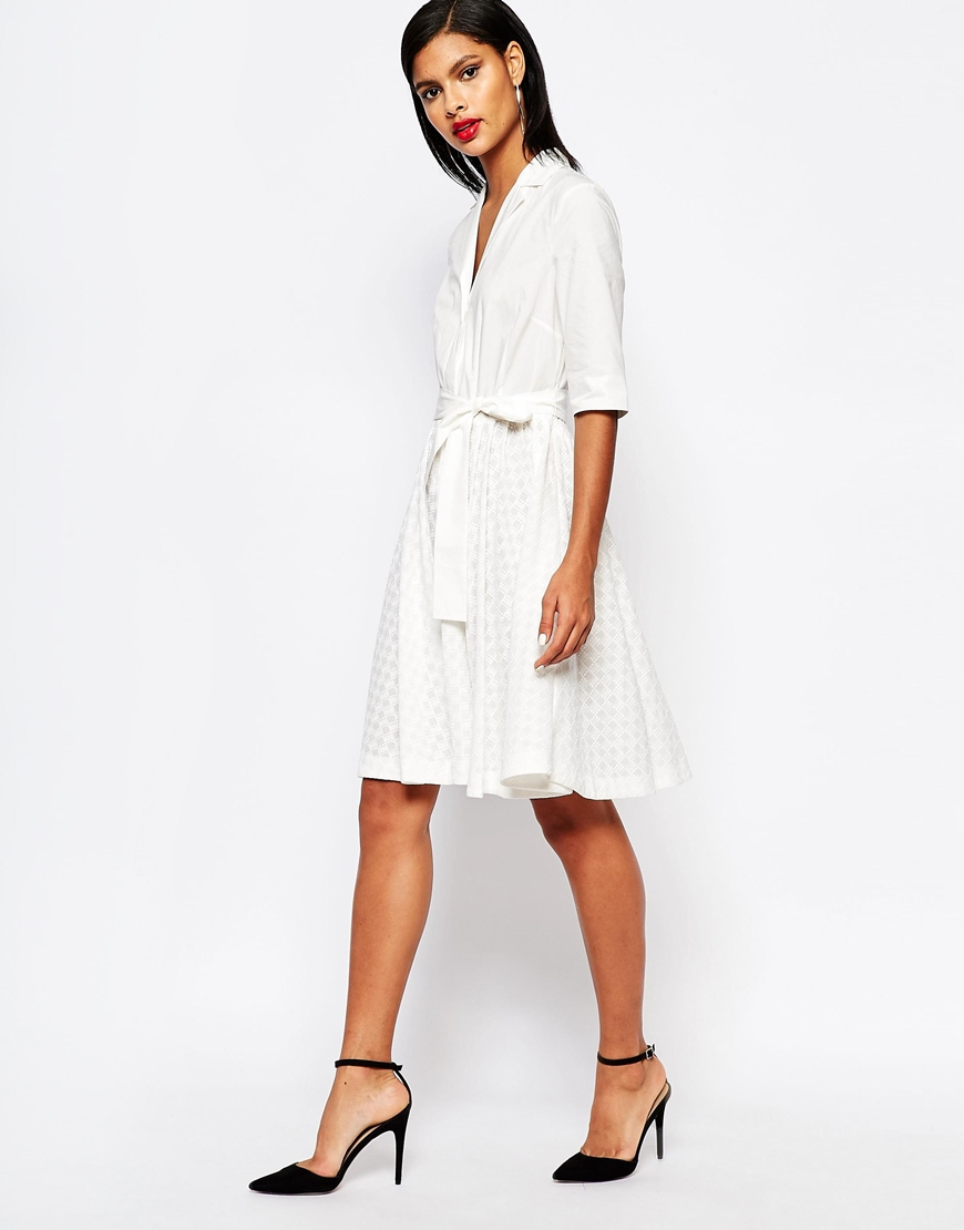 Lyst French Connection Geo Flora Shirt Dress In Broderie