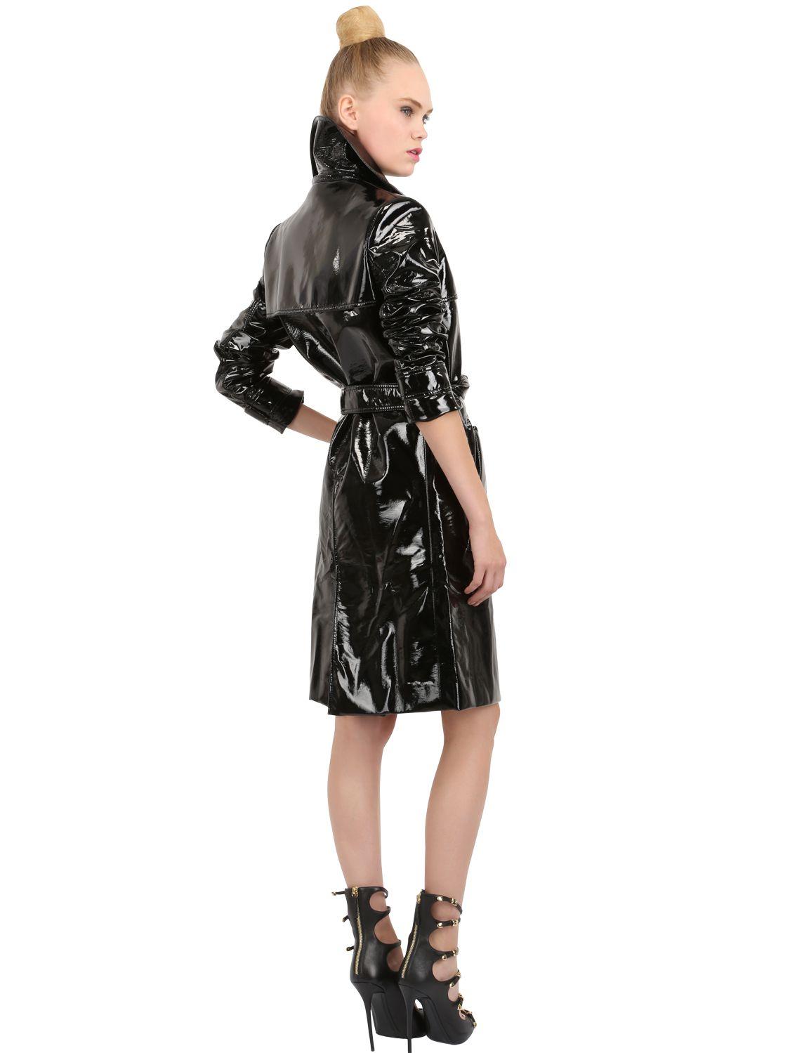 15184dd6286 Lyst - Pedro Lourenco Vinyl Trench Coat in Black