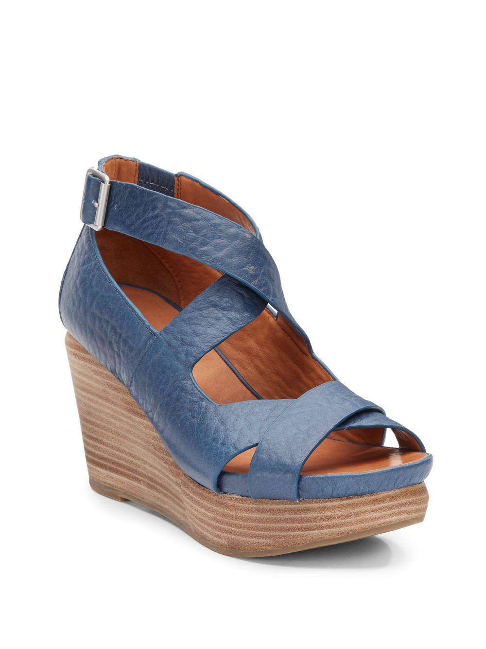 gentle souls jasione leather strappy wedge sandals in blue