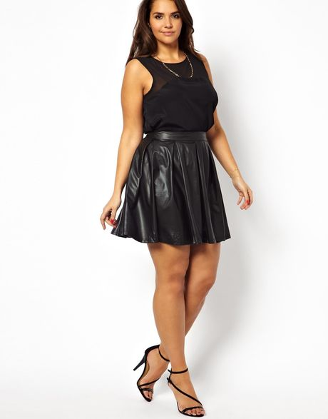 ax curve leather look skater skirt in black lyst