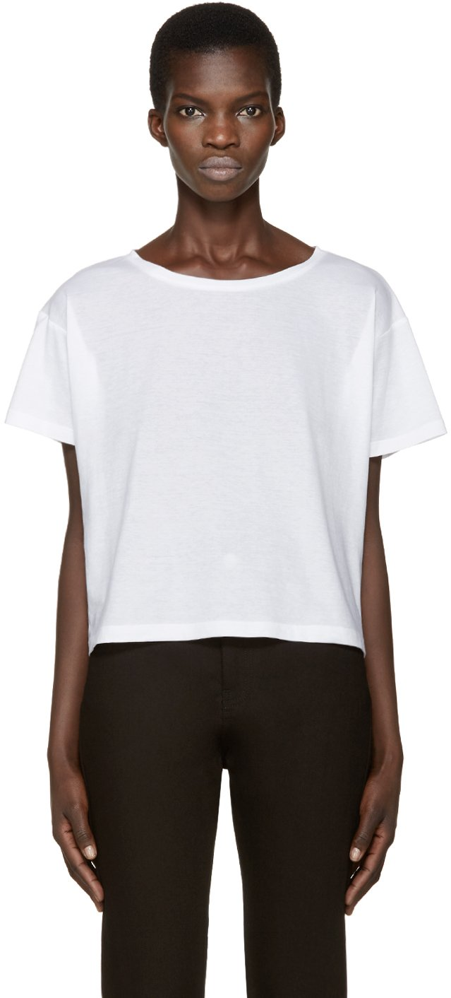 Anthony vaccarello white boatneck t shirt in white lyst for Tony collar dress shirt