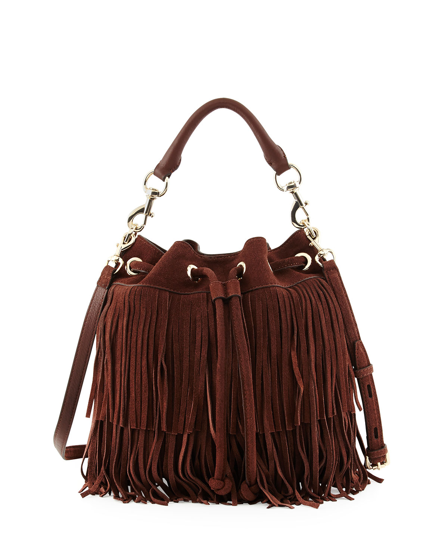 minkoff fiona suede fringe bag in brown