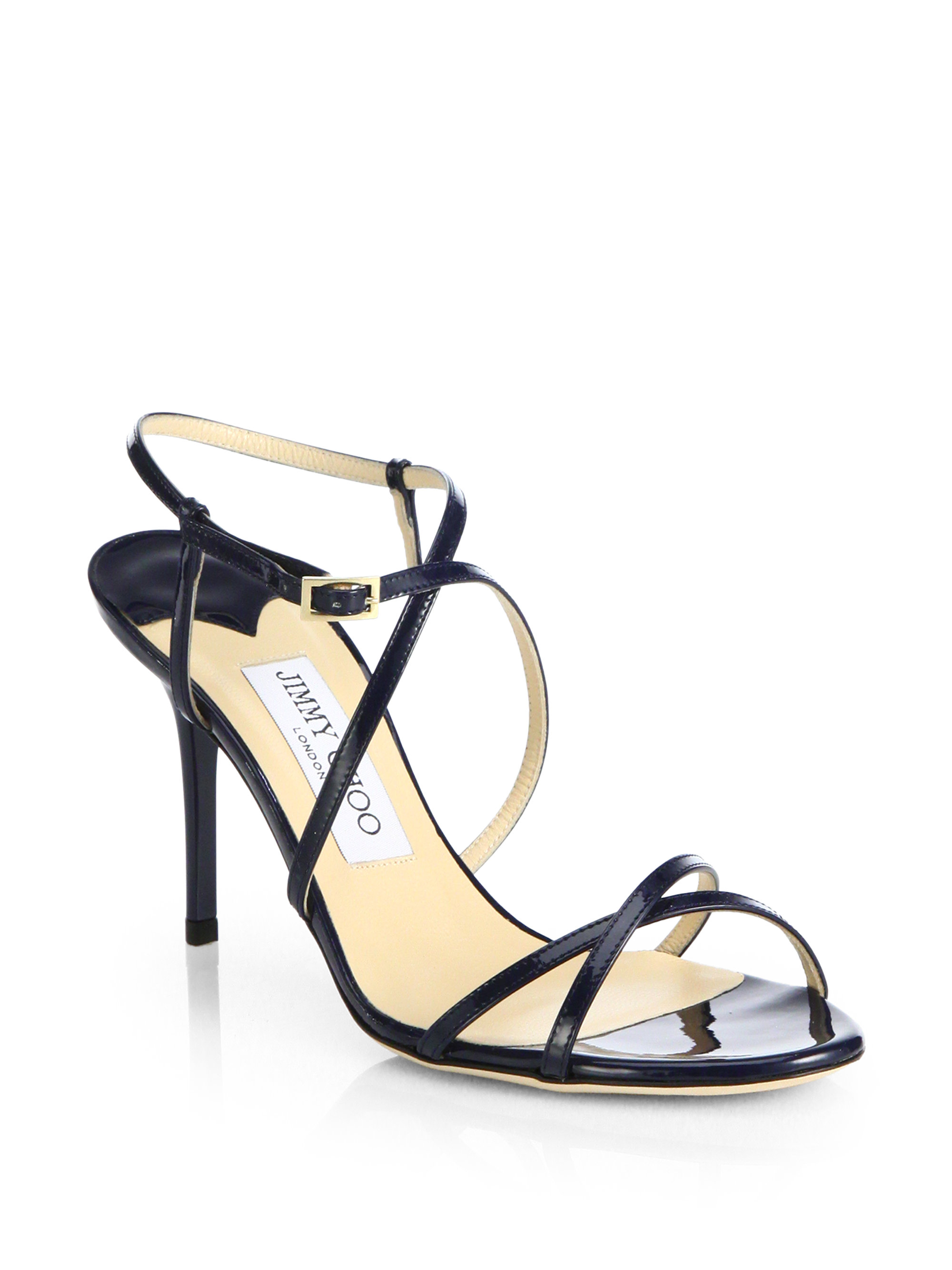 6d241c838ba8d6 Jimmy Choo Elaine Strappy Patent Leather Sandals in Blue - Lyst