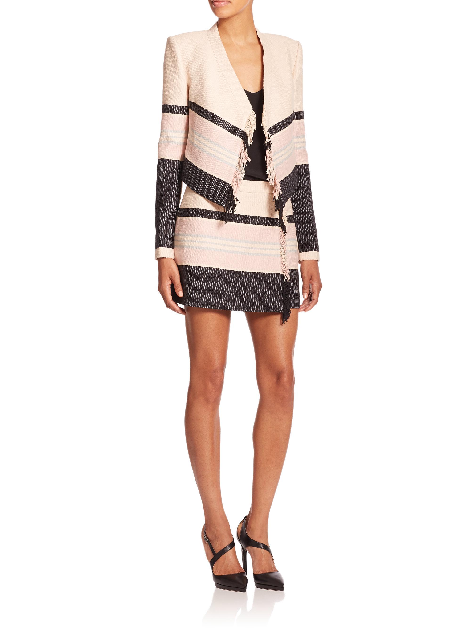 20fd683d92 Lyst - BCBGMAXAZRIA Mallika Striped Fringe-detail Mini Skirt in Brown