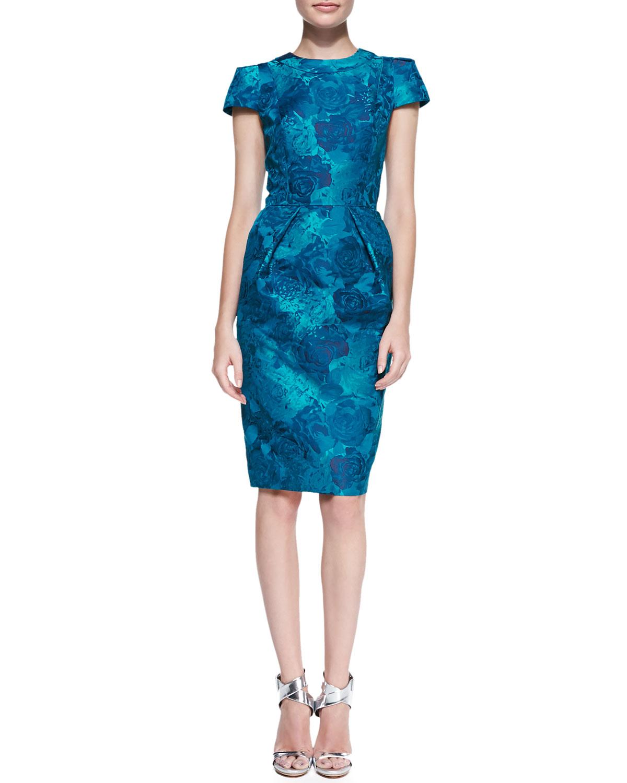 Carmen marc valvo Short-sleeve Floral Jacquard Sheath Dress in ...