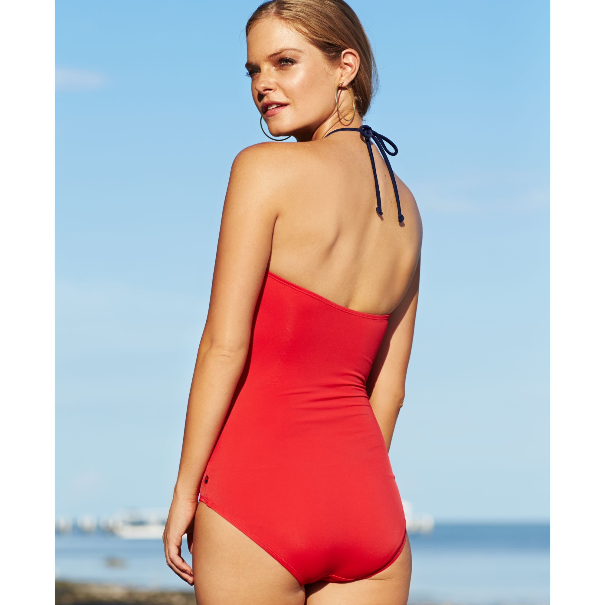 9ccbd72dd4227 Tommy Hilfiger Bandeau Halter Onepiece Swimsuit in Red - Lyst