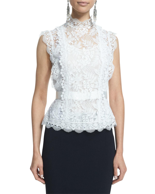 Lyst - Oscar de la Renta Sleeveless Lace Blouse in White