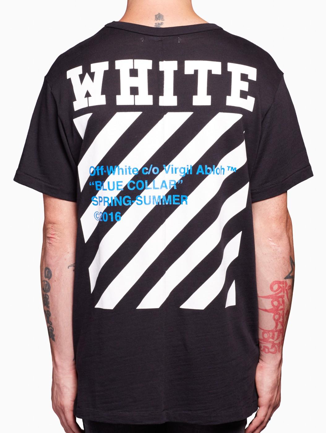 Lyst - Off-White c o Virgil Abloh Blue Collar T-shirt in Black for Men b8fb9aaef37b