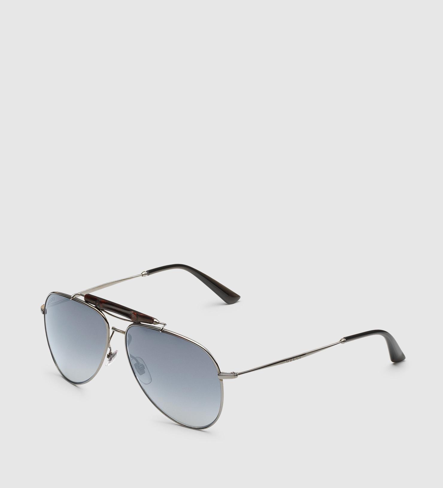 eaf1a8e274 Lyst - Gucci Dark Ruthenium Aviator Sunglasses With Bamboo in Blue ...