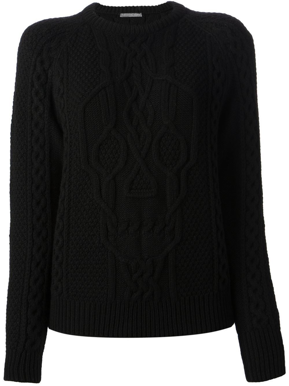 Alexander mcqueen Skull Cable Knit Sweater in Black | Lyst