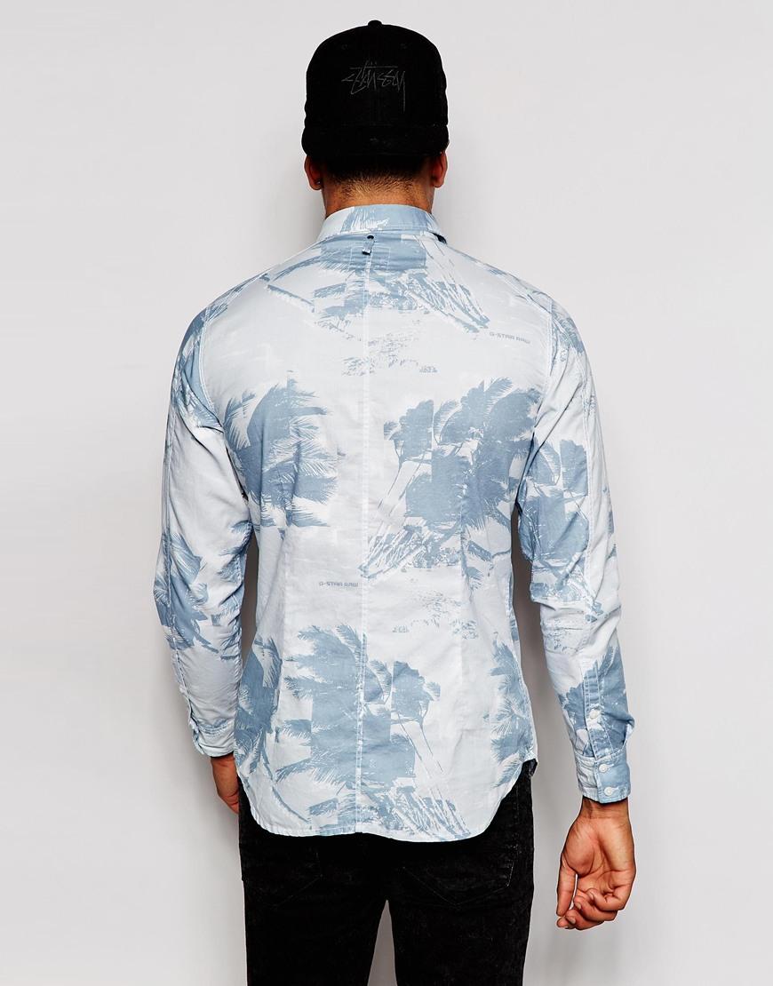 lyst g star raw shirt landoh clean douglas oxford leaf camo print in blue for men. Black Bedroom Furniture Sets. Home Design Ideas
