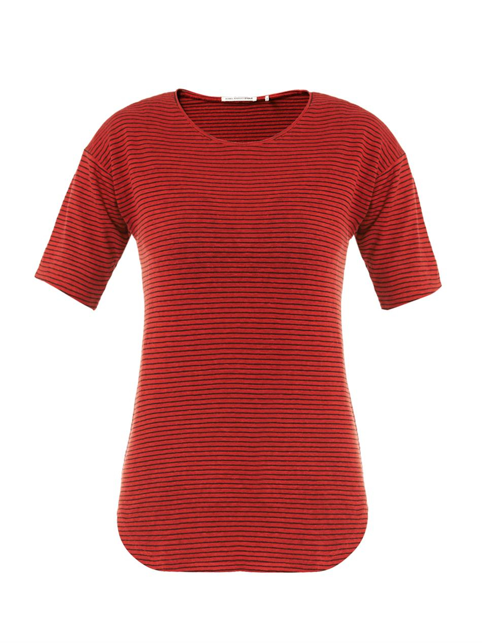 Etoile isabel marant faxon striped linen t shirt in red lyst for Isabel marant t shirt sale