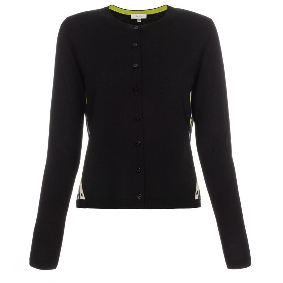 Paul smith Women's Black Merino Wool Cardigan With 'pop Graphic ...
