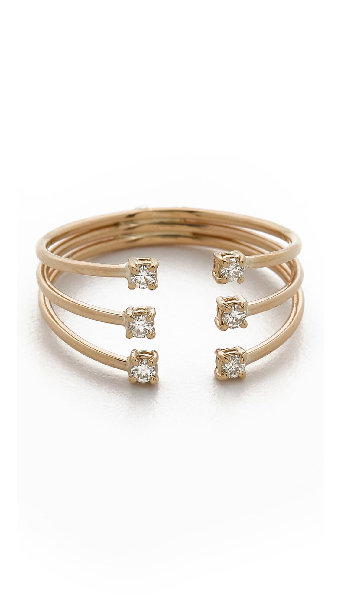 Lyst - Jennie Kwon Diamond Cage Cuff Ring - Gold/clear in Metallic