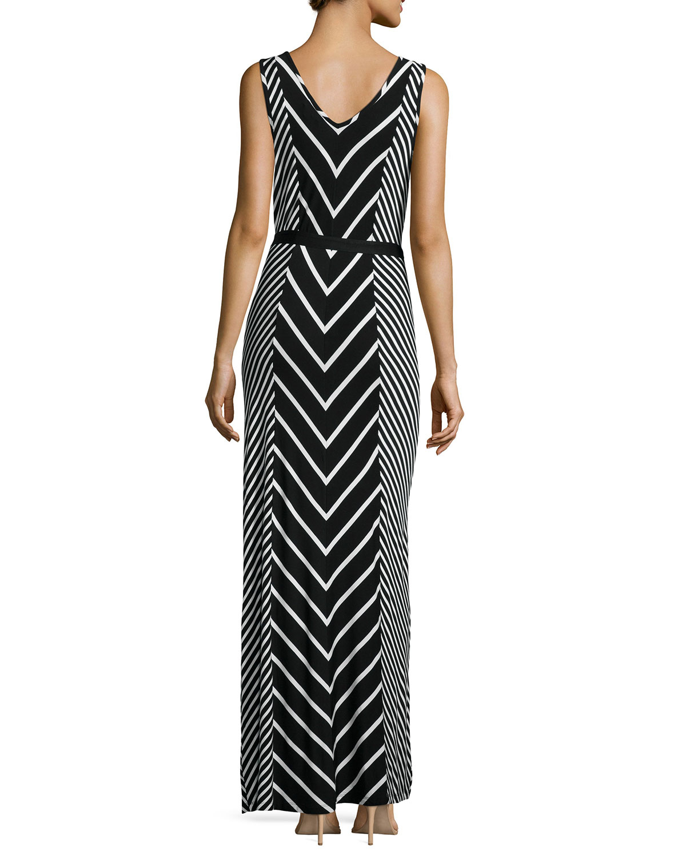 Neiman marcus Chevron Striped Sleeveless Maxi Dress in ...